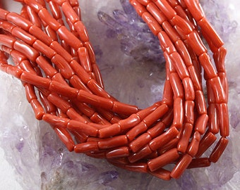 Coral Tube Shaped Beads