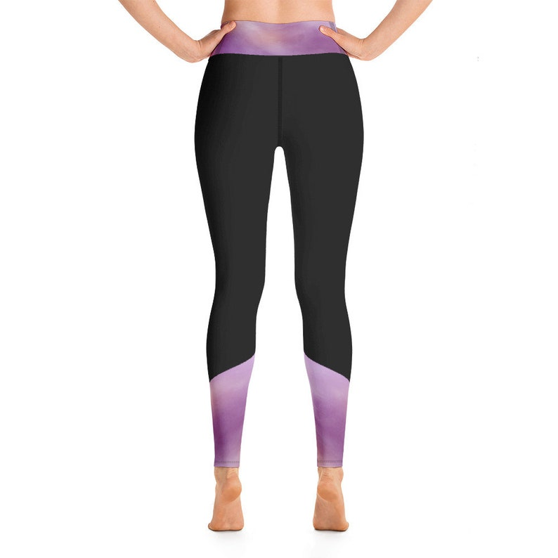 Purple Watercolor Black Yoga Leggings with Pocket