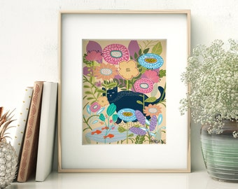 Digital Art Print for Instant Download, Ready to Print. Blue Cat with Goldfish.