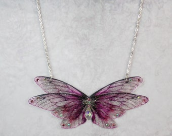 Enchanting Deep Pink Fairy Wing/Butterfly/Cicada Statement Necklace