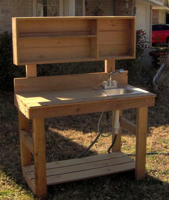 Brand New 4 Foot Ultimate Cedar Potting Bench with Sink - Free Shipping