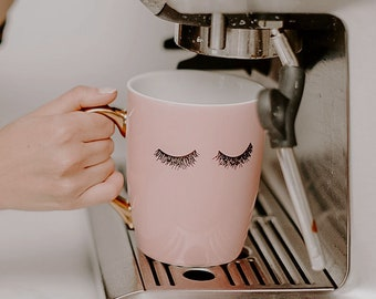 Eyelash Mug | Pink And Gold Eyelashes Coffee Mug | Makeup And Lashes Mug | Lash Mug | Makeup Gift | Best Friend Gift | Bridesmaid Gift