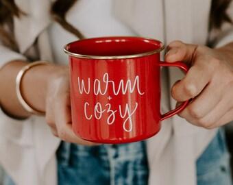 Warm and Cozy Campfire Mug | Christmas Mug | Holiday Coffee Mug | Holiday Decor | Red Campfire Mug | Enamel Mug | Christmas Coffee Cup