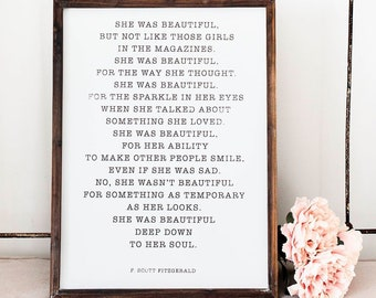 She Was Beautiful F Scott Fitzgerald Framed Wood Sign 18x24 | Inspirational  Office Decor, Large Wood Sign
