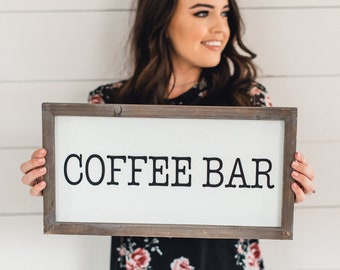 "Coffee Bar Wood Sign 9x17"" | Rustic Wall Decor Rustic Home Decor Farmhouse Decor Rustic Country Wood Signs Magnolia Coffee Bar Coffee Sign"