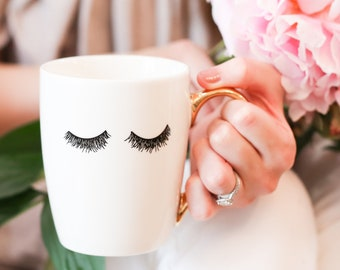 Eyelashes Gold Coffee Mug | Coffee Cup Mug Sister Gift Best Friend Gift For Women Gift For Her Girlfriend Gift Bridesmaid Gift