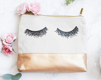Eyelash Leather Makeup Bag | Gold Make Up Bag Toiletry Bag Travel Accessories Cosmetic Bag Zipper Pouch Tote Bag Canvas Bag Bridesmaid Gift