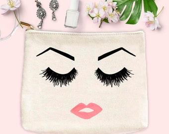 Eyelashes Brows and Lips Face Makeup Bag   Make Up Bag Toiletry Bag Pencil  Case Makeup Organizer Cosmetic Bag Bridesmaid Gift for Her Canvas 59b3426766