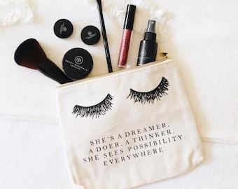 She s A Dreamer Canvas Cosmetic Bag   Positive Inspiration, Eyelash Decor,  Mindfulness Gift, Canvas Makeup Bag 548d57996c