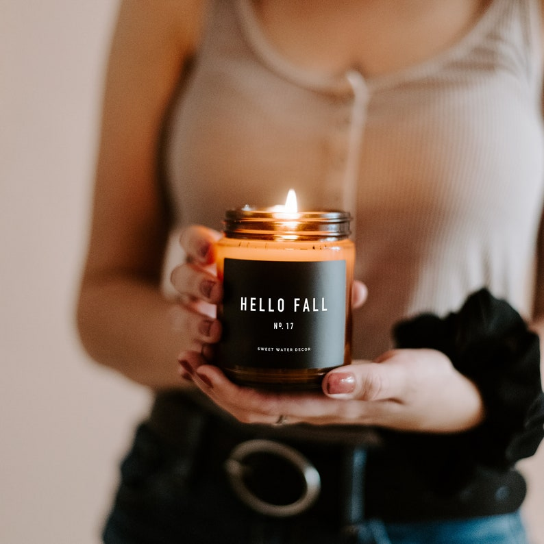 Hello Fall Candle Amber Jar Candle Soy Candles Fall image 0