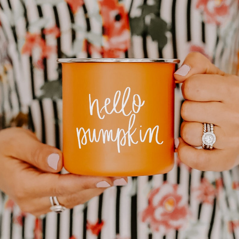 Hello Pumpkin Coffee Mug  Fall Campfire Mug  Pumpkin Spice image 0