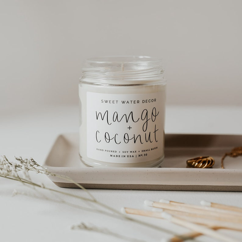 Mango and Coconut Soy Candle Tropical Fruit Candle Essential Oil Infused Soy Wax Candle Coconut Scented Candle Mango Candle