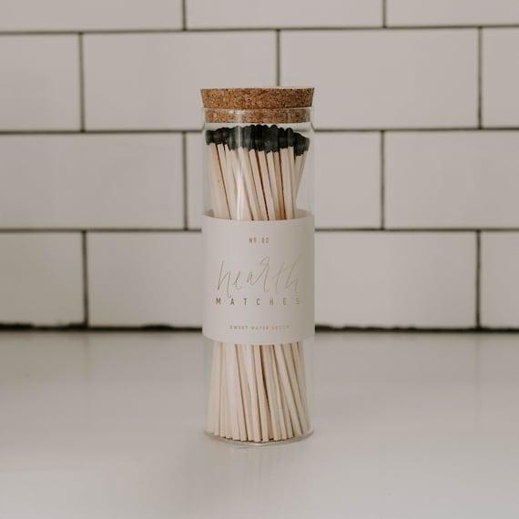 Black Hearth Matches Pot de verre | Bouteille de match de cheminée | Matches et Striker | Titulaire du match | Correspondances de sécurité dans une bouteille | Apothecary Jar