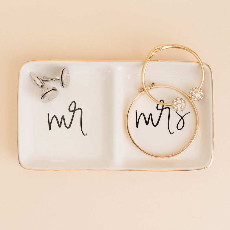 Mr and Mrs Ring Dish  Engagement Ring Dish Wedding Ring image 0