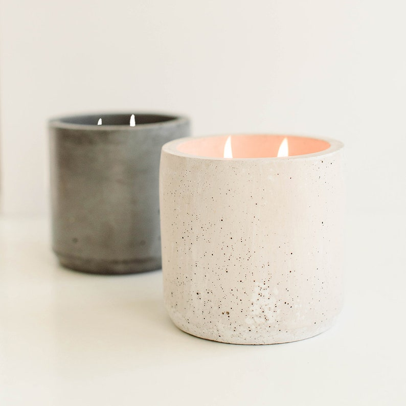 Holiday Double Wick Concrete Candle  Christmas Candle image 0