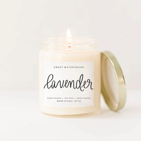 Lavender Candle 9oz   Lavender Scented, Relaxing Candles, Gluten Free Gift,  Mason Jar Candles