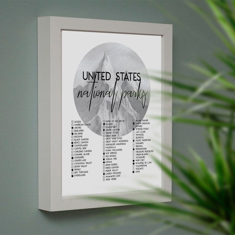photograph regarding Printable National Park Checklist called Countrywide Parks List Printable - U.S. Park Record for Framing, PDF, JPG, Print at Residence - 8x10 Inches
