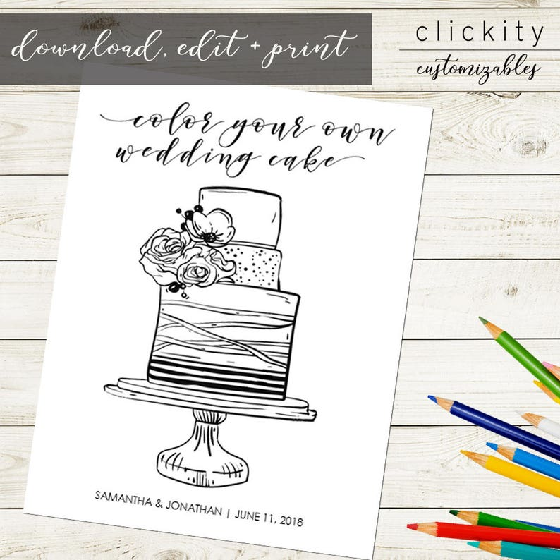 Wedding Cake Coloring Page  Download Customize Print for image 0
