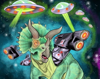 """Battle Triceratops in Space Painting Limited Print 9"""" by 12"""""""