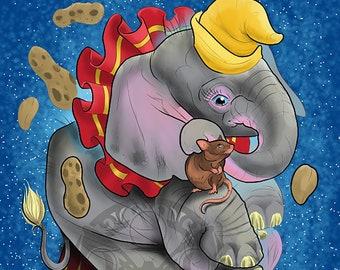 Baby Elephant Dumbo Fan art  Digital Painting Print