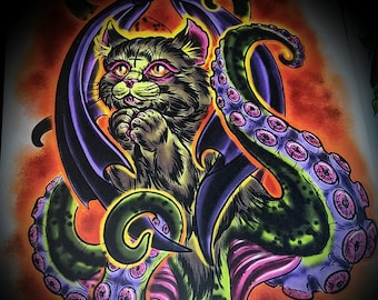 """Cathulhu Tenta-Kitten Digital Painting Limited Print 11"""" by 14""""  Lovecraft Cthulhu Home Decor"""