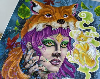 Spirited Fox HOLOGRAPHIC Limited Print 11'' by 14''