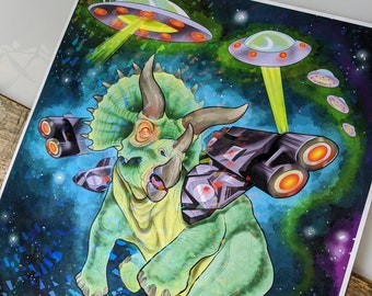 """Battle Triceratops in Space Painting HOLOGRAPHIC Limited Print 11"""" by 14"""""""