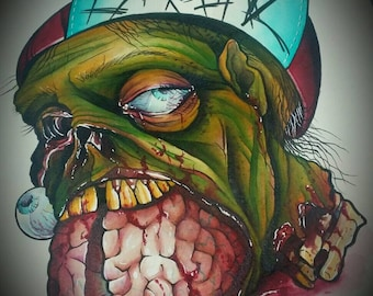 """Severed Zombie Head with a Mouthful of Brains Watercolor Painting Print 9"""" x 12"""" SALE"""