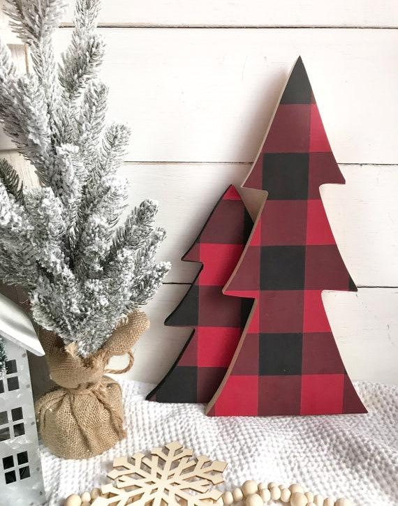 Buffalo Check Christmas Decor.Buffalo Check Christmas Tree Christmas Decor Christmas Tree Set Holiday Home Decor Buffalo Check Decor Buffalo Plaid Home Decor