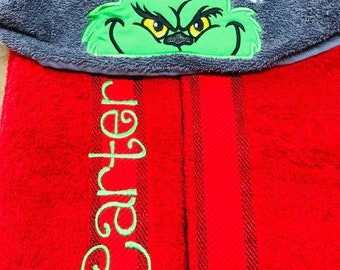 Custom Grinch Inspired Hooded Towel **free personalization**