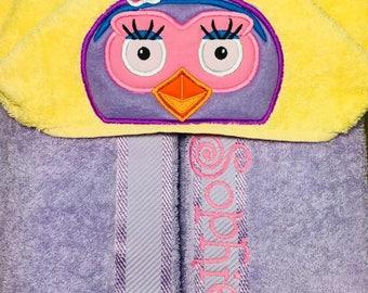 "Personalised Hooded Towel  ""Giggle & Hoot""  add name FREE"