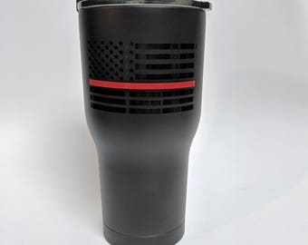 Thin Red Line Stainless Steel Tumbler/Thin Red Line/Firefighter Support/Firefighter Wife/Firefighter Family/Red Line Project/Fireman Wife