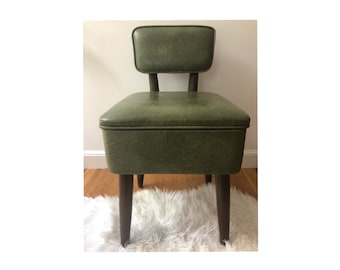 Delicieux Retro Mid Century Modern Sewing Chair / Mid Century Sewing Bench / Retro  Sewing Bench / Retro Storage Ottoman / Green Sewing Bench