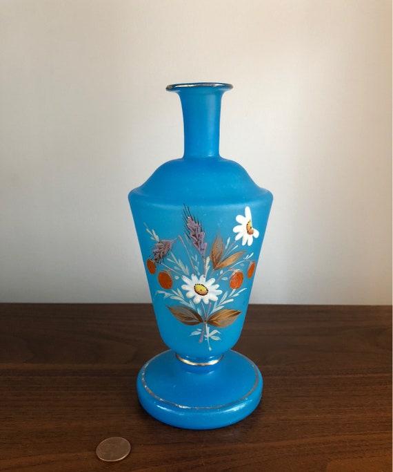 Antique Bristol Glass Vase Blue Glass Vase Hand Painted Etsy