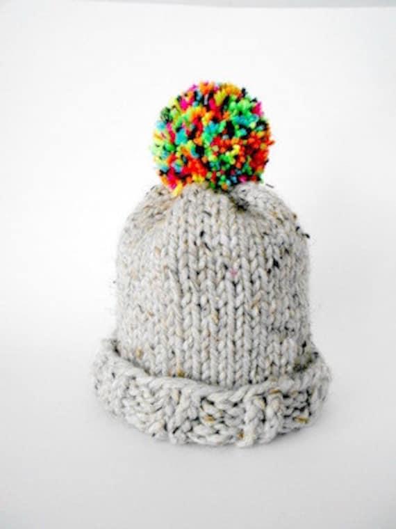 935943d31 Grey Knit & Rainbow Pom-Pom Beanie/Toque/Winter Hat