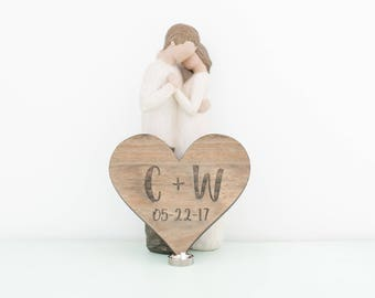 Rustic Wood Carved with Initials-Laser Engraved Wood Heart-Wedding Decor- Laser Cut Sign-Valentine's gift