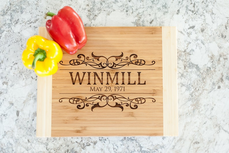 Personalized Wedding Bamboo Cutting Board ~ 11 by 14 by urban forest woodworking