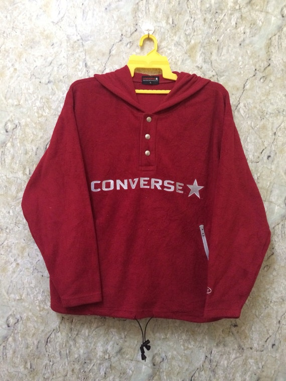 Vintage Converse Fleece Jacket Pull Over Button Up