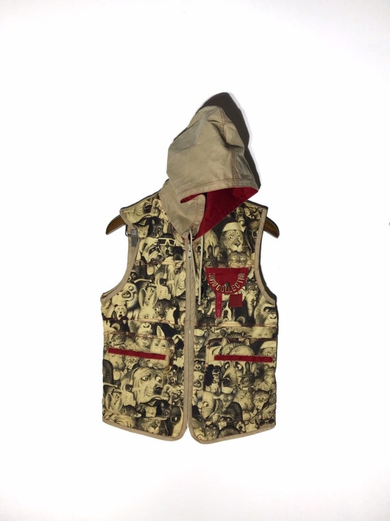 Free Shipping Vintage  Kunio Collection Vest With Hoodie Full Print Design Hip Hop Rare