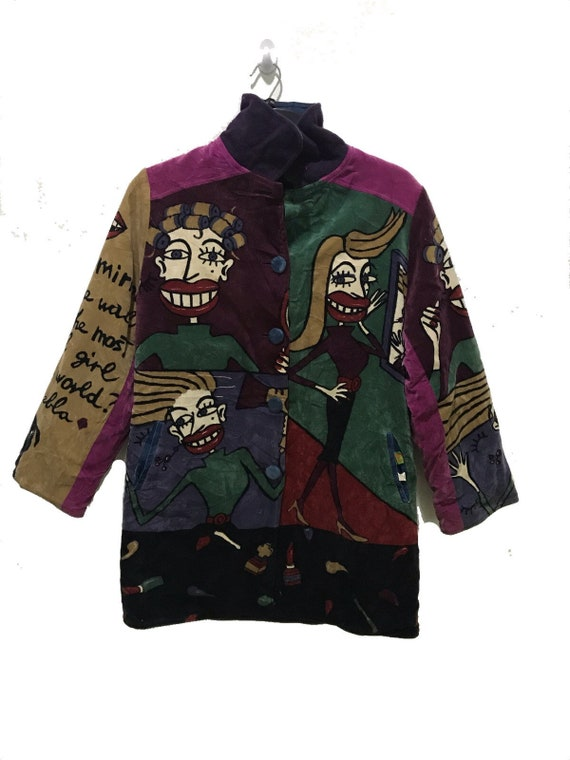 Vintage Picasso Tyle Jacket Casual Multi Color Car