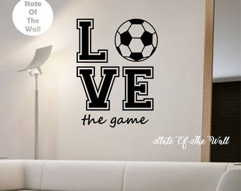 Soccer Wall Decal LOVE THE GAME Sticker Art Decor Bedroom Design Mural sports lifestyle work out home decor