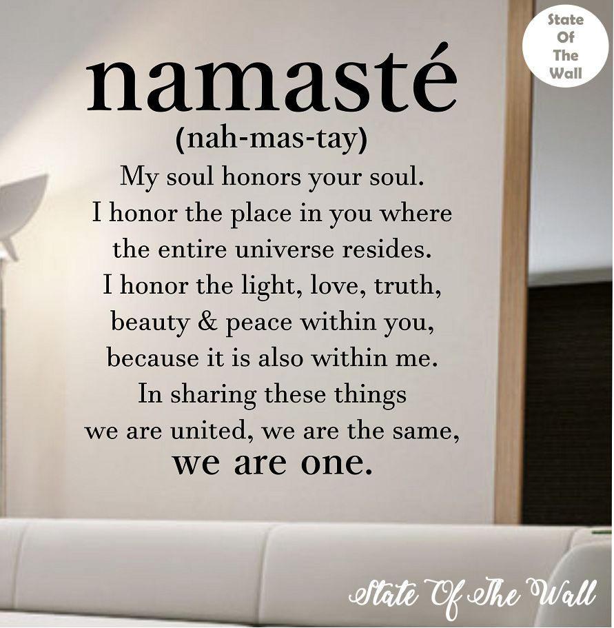 Namaste Definition Quote Wall Decal Namaste Vinyl Sticker