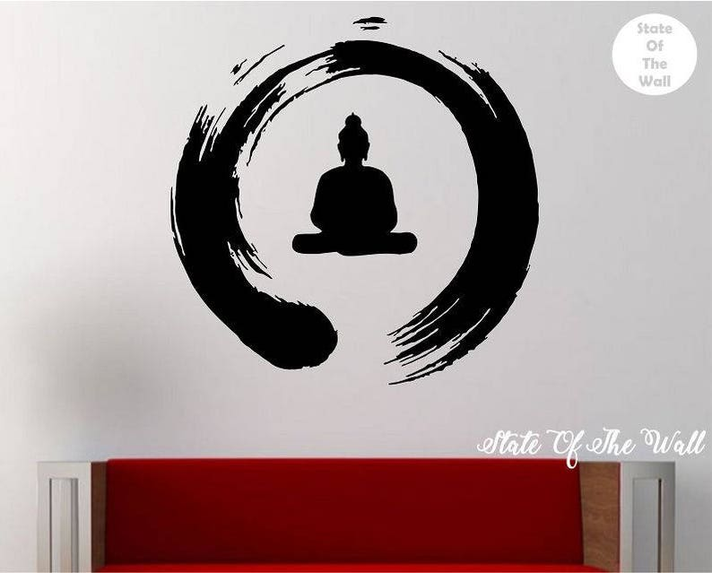 zen circle with buddha wall decal vinyl sticker art decor | etsy