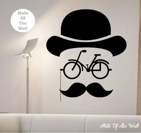 Hipster Bicycle Mustache Wall Decal Sticker Art Decor Bedroom | Etsy