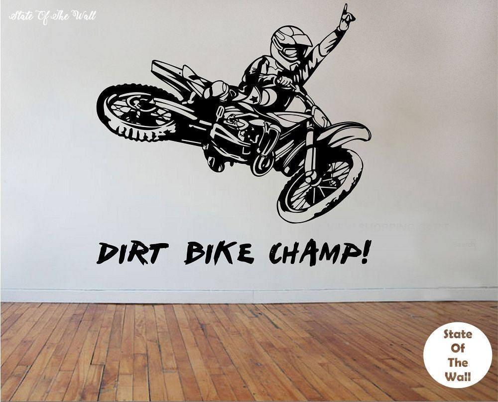 Dirt Bike Wall Decal CHAMPION Sticker Art Decor Bedroom