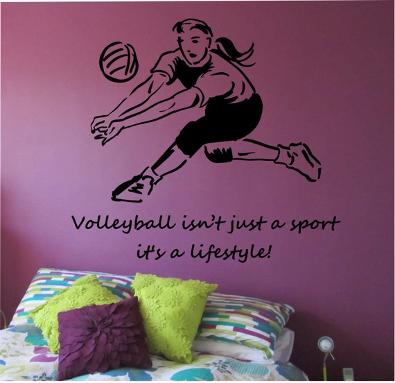 Volleyball Wall Decal LOVE Sticker Art Decor Bedroom Design Mural Sports Lifestyle Work Out Home Decor New Volleyball Bedroom Decor