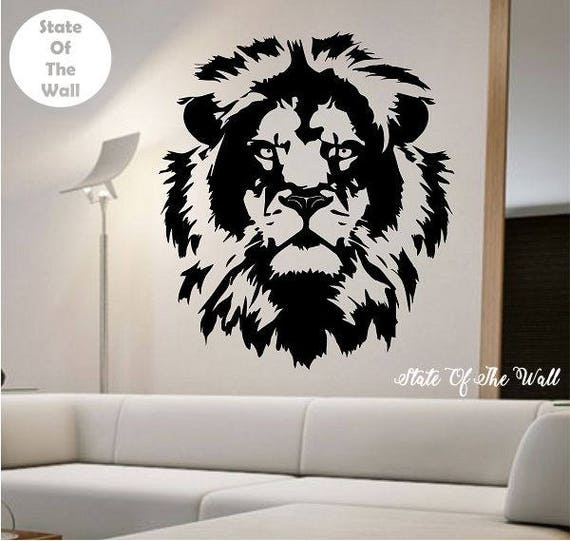 lion wall decal lion face vinyl design sticker art decor | etsy