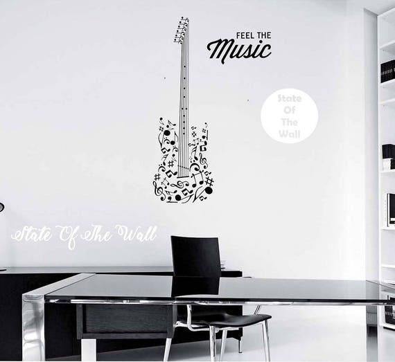 guitar wall decal feel the music quote vinyl sticker art | etsy
