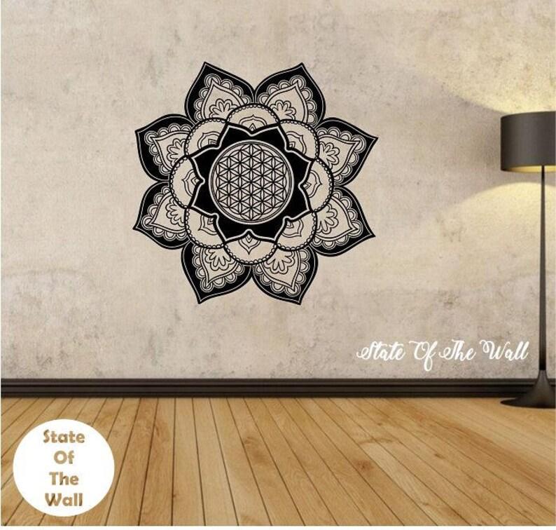 flower of life mandala flower wall decal flower namaste vinyl | etsy