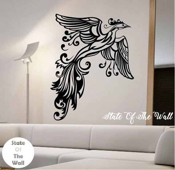 phoenix wall decal sticker art decor bedroom design mural   etsy